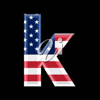 Royalty Free Clipart Image of a American Flag 'k'