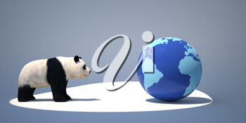 Royalty Free Clipart Image of a Panda Looking at the Earth