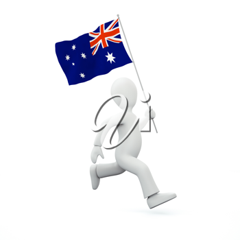 Royalty Free Clipart Image of a Man Holding New Zealand's Flag