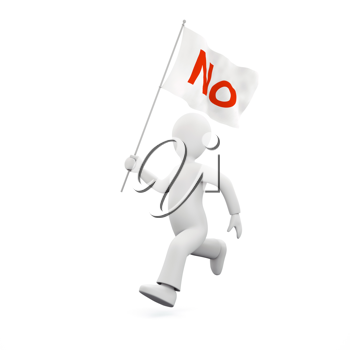 Royalty Free Clipart Image of a Man Protesting with a 'N' Flag