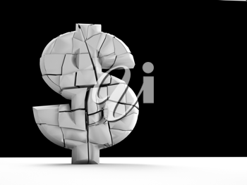 Royalty Free Clipart Image of a 3d USD Symbol