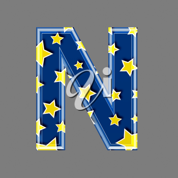 3d letter with star pattern - N