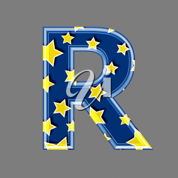 3d letter with star pattern - R