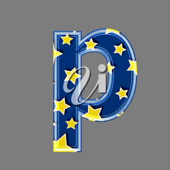 3d letter with star pattern - P