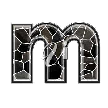 Abstract 3d letter with stone wall texture - M