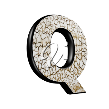 abstract 3d letter with dry ground texture - Q