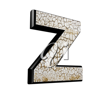abstract 3d letter with dry ground texture - Z