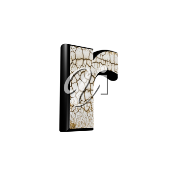 abstract 3d letter with dry ground texture - R