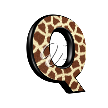 3d letter with giraffe fur texture - Q