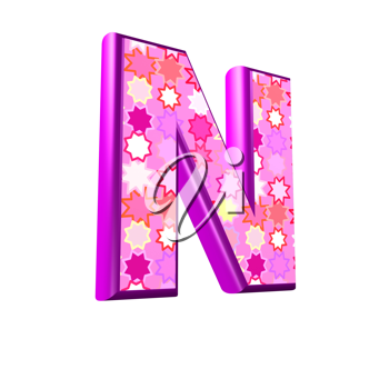 3d pink letter isolated on a white background - n