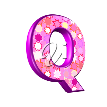 3d pink letter isolated on a white background - q