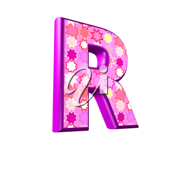 3d pink letter isolated on a white background - r