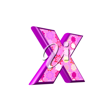 3d pink letter isolated on a white background - x