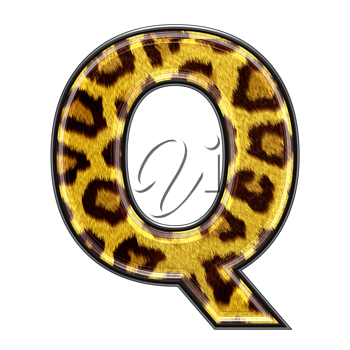 3d letter with panther skin texture - Q