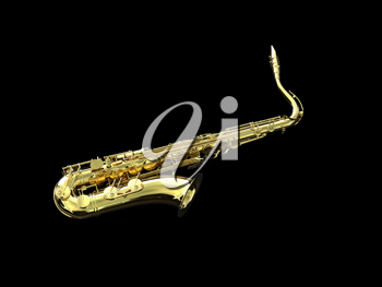 a 3d golden saxophone isolated over black background