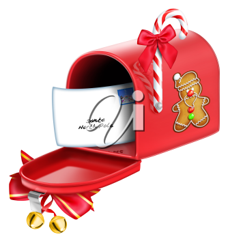 Royalty Free Clipart Image of a Christmas Mailbox