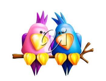 Royalty Free Clipart Image of Two Birds on a Branch