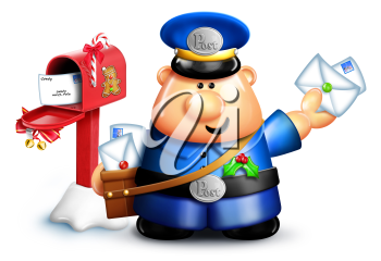 Royalty Free Clipart Image of a Postman Getting Mail
