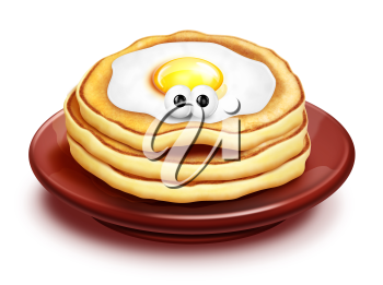 Royalty Free Clipart Image of Pancakes With an Egg on Top