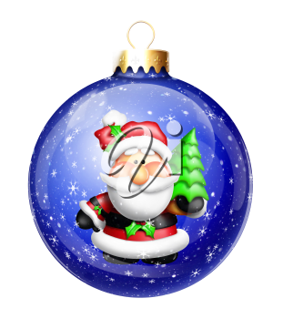 Royalty Free Clipart Image of an Ornament With Santa