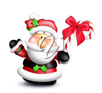 Royalty Free Clipart Image of Santa With a Candy Cane