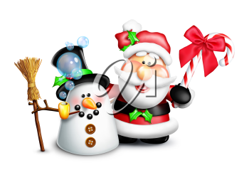 Royalty Free Clipart Image of Santa and a Snowman