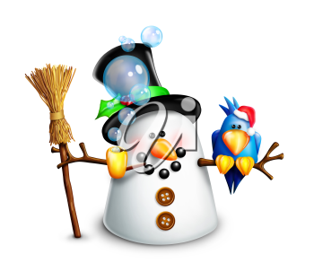 Royalty Free Clipart Image of a Snowman With a Bird and a Broom
