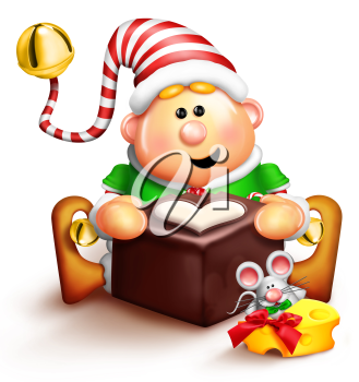 Royalty Free Clipart Image of an Elf and a Mouse With Cheese