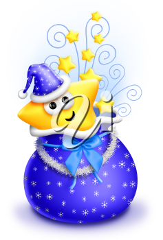 Royalty Free Clipart Image of a Star in a Blue Hat in a Blue Bag