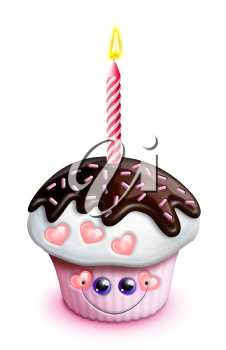 Royalty Free Clipart Image of a Cupcake With One Candle
