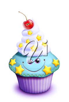 Royalty Free Clipart Image of a Cupcake With a Cherry on Top