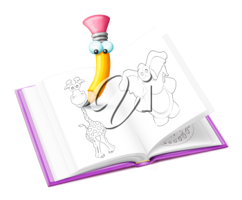 Royalty Free Clipart Image of a Pencil Drawing Animals in a Book