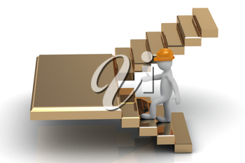 Royalty Free Clipart Image of a Man in a Hardhat Going Up Stairs