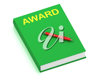 Royalty Free Clipart Image of the Word Award on a Book