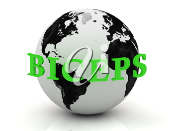 Royalty Free Clipart Image of Biceps Around a Globe