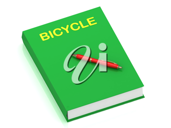 Royalty Free Clipart Image of the Word Bicycle on a Book With a Pen