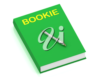 Royalty Free Clipart Image of the Word Bookie on a Book