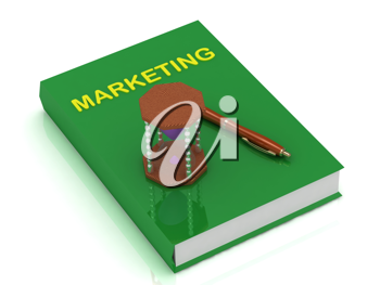 Royalty Free Clipart Image of a Book With the Word Marketing and an Hourglass and Pen