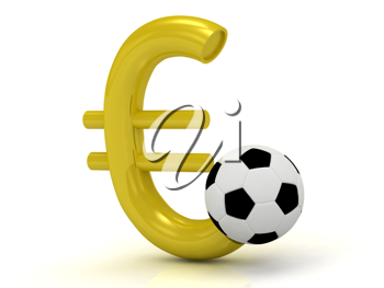 Royalty Free Clipart Image of a Euro Sign and Soccer Ball