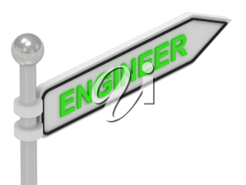 Royalty Free Clipart Image of an Arrow Sign With the Word Engineer