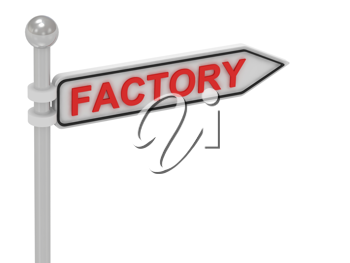 Royalty Free Clipart Image of an Arrow Sign With the Word Factory