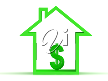 Royalty Free Clipart Image of a Green House and Dollar Sign