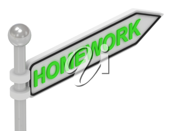 Royalty Free Clipart Image of an Arrow Sign With the Word Homework