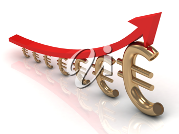 Royalty Free Clipart Image of a Graph Comprised of Euro Symbols and an Arrow