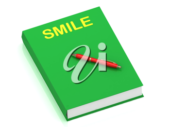 Royalty Free Clipart Image of a Book With the Word Smile