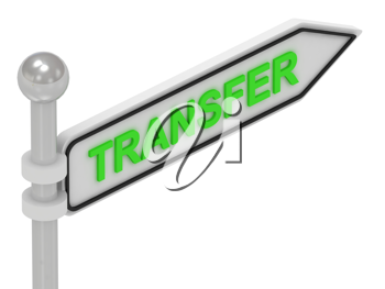 Royalty Free Clipart Image of an Arrow Sign With the Word Transfer
