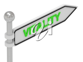 Royalty Free Clipart Image of an Arrow Sign With the Word Vitality