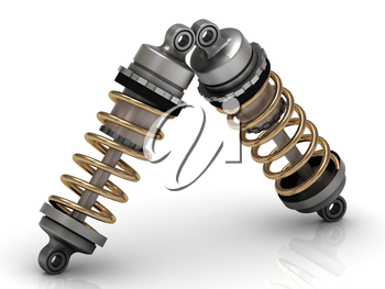 Two automotive shock absorber with gold springs