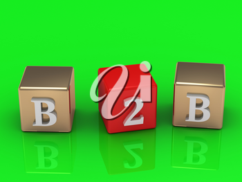 B2B inscription in gold and red cubes on a green background. Image from the same footage