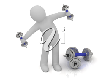 3d man with dumbbells does exercise leaning sideways. Beside him lay a heavy dumbbell
